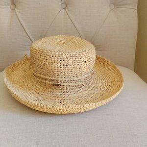 Scala woman crochet raffia sun hat